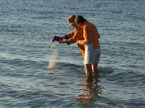 Die Asche eines Hundes wird im Meer verstreut.